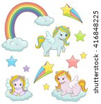 a set of cute magic pegasus... | Shutterstock .eps vector #416848225