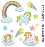 a set of cute magic pegasus...   Shutterstock .eps vector #416848225