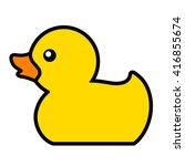 rubber duck toy for fun in bath ... | Shutterstock .eps vector #416855674