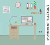office workplace flat design | Shutterstock .eps vector #416856871