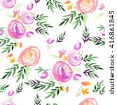 floral seamless pattern with... | Shutterstock . vector #416861845
