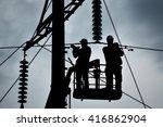 power line support  insulators... | Shutterstock . vector #416862904