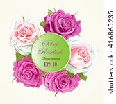 set of five different roses.... | Shutterstock .eps vector #416865235