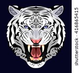 portrait of an angry tiger bared | Shutterstock .eps vector #416865415
