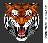 portrait of an angry tiger bared | Shutterstock .eps vector #416865424