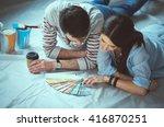 couole choosing paint colour... | Shutterstock . vector #416870251