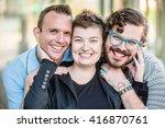 three gender fluid friends pose ... | Shutterstock . vector #416870761