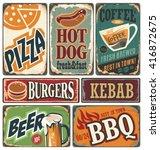 vintage restaurant signs... | Shutterstock .eps vector #416872675