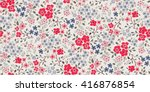 seamless cute flower vector... | Shutterstock .eps vector #416876854