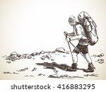 sketch of man trekking with big ... | Shutterstock .eps vector #416883295