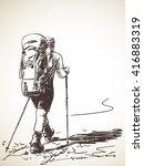 sketch of man trekking with big ... | Shutterstock .eps vector #416883319