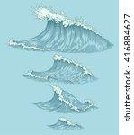 sea waves. design set. hand... | Shutterstock .eps vector #416884627