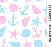 cute marine life background.... | Shutterstock .eps vector #416886685
