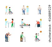 flat lab hospital healthcare... | Shutterstock .eps vector #416889229