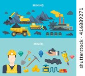 mining industry heavy machinery ... | Shutterstock .eps vector #416889271