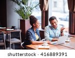 cheerful young colleagues are... | Shutterstock . vector #416889391