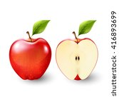 red apple and a half of apple ... | Shutterstock .eps vector #416893699