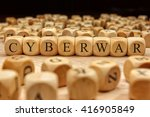 cyberwar word written on wood... | Shutterstock . vector #416905849