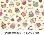Seamless Pattern With Cupcakes...