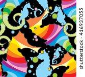 seamless wallpaper seahorse | Shutterstock .eps vector #416937055