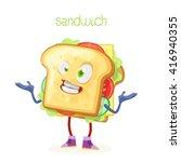 character mascot sandwich fun... | Shutterstock .eps vector #416940355