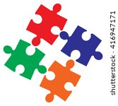 jigsaw puzzle pieces | Shutterstock .eps vector #416947171