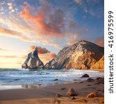 beautiful sunrise over rocky... | Shutterstock . vector #416975599