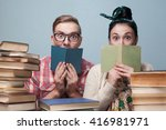 couple of nerd students... | Shutterstock . vector #416981971