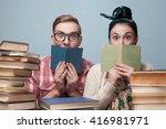couple of nerd students... | Shutterstock . vector #416981971
