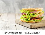 Tasty And Fresh Sandwiches On ...