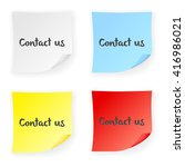 stick note contact us on a... | Shutterstock .eps vector #416986021