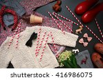 top view of collection of kids... | Shutterstock . vector #416986075