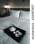 luxury bedroom with tea set.   Shutterstock . vector #416987857