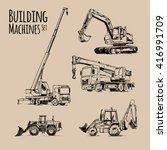 truck crane  excavator ... | Shutterstock .eps vector #416991709