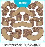 collection of retro brown... | Shutterstock .eps vector #416993821