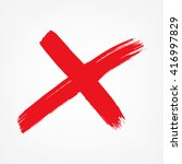 x. red letter x made with ink.... | Shutterstock .eps vector #416997829