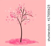spring blooming tree on rose... | Shutterstock .eps vector #417000625