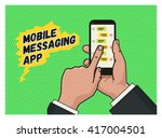 writing a message on mobile app....   Shutterstock .eps vector #417004501