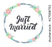 just married lettering with... | Shutterstock .eps vector #417008701