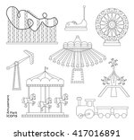 amusement park icons | Shutterstock .eps vector #417016891