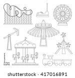 amusement park icons | Shutterstock .eps vector #417016891