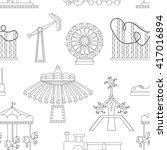 amusement park icons pattern | Shutterstock .eps vector #417016894