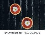 grapefruit halves arranged on a ... | Shutterstock . vector #417022471