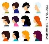 set of female heads isolated on ...   Shutterstock .eps vector #417033061