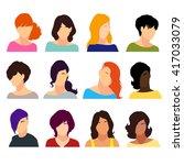 set of female heads isolated on ... | Shutterstock .eps vector #417033079