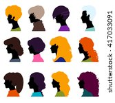 set of female heads isolated on ... | Shutterstock .eps vector #417033091