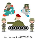 Set Of Soldiers  Cartoon...