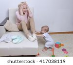woman sits with her child ... | Shutterstock . vector #417038119