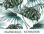 tropical palm leaves  jungle... | Shutterstock .eps vector #417042535
