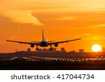 airplane is flying to the... | Shutterstock . vector #417044734